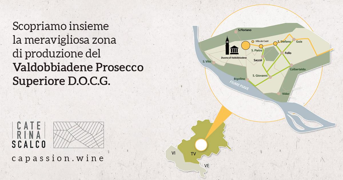 mappa della zona di produzione del Valdobbiadene Prosecco Superiore DOCG